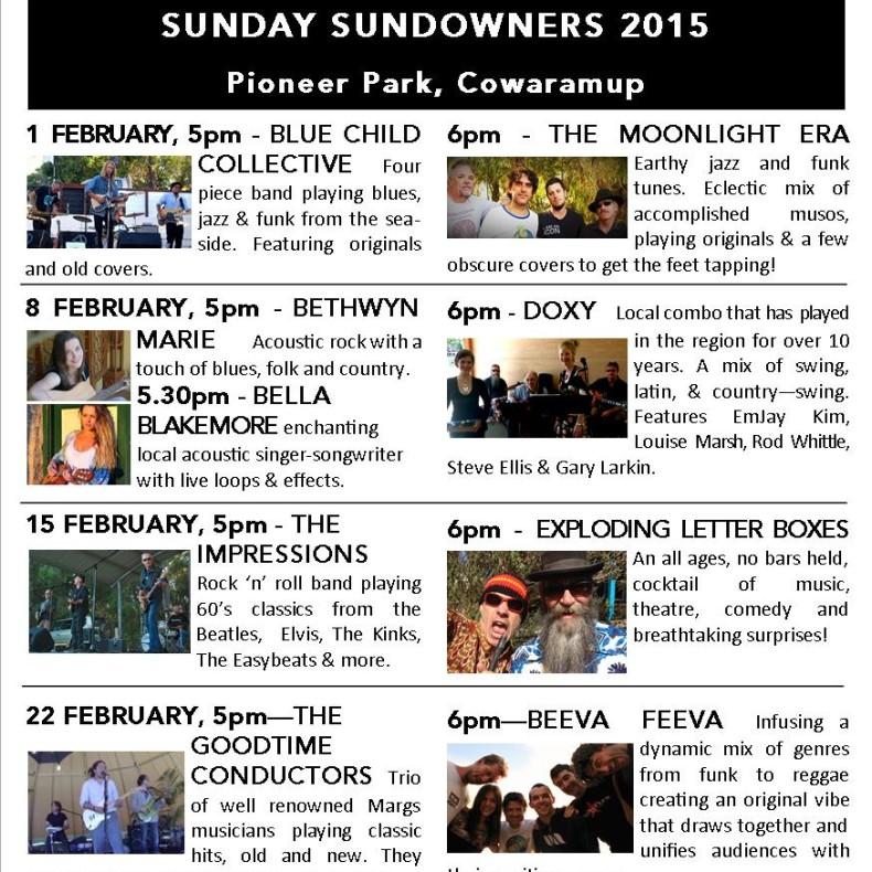 Sun Sundowners 2015 flyer
