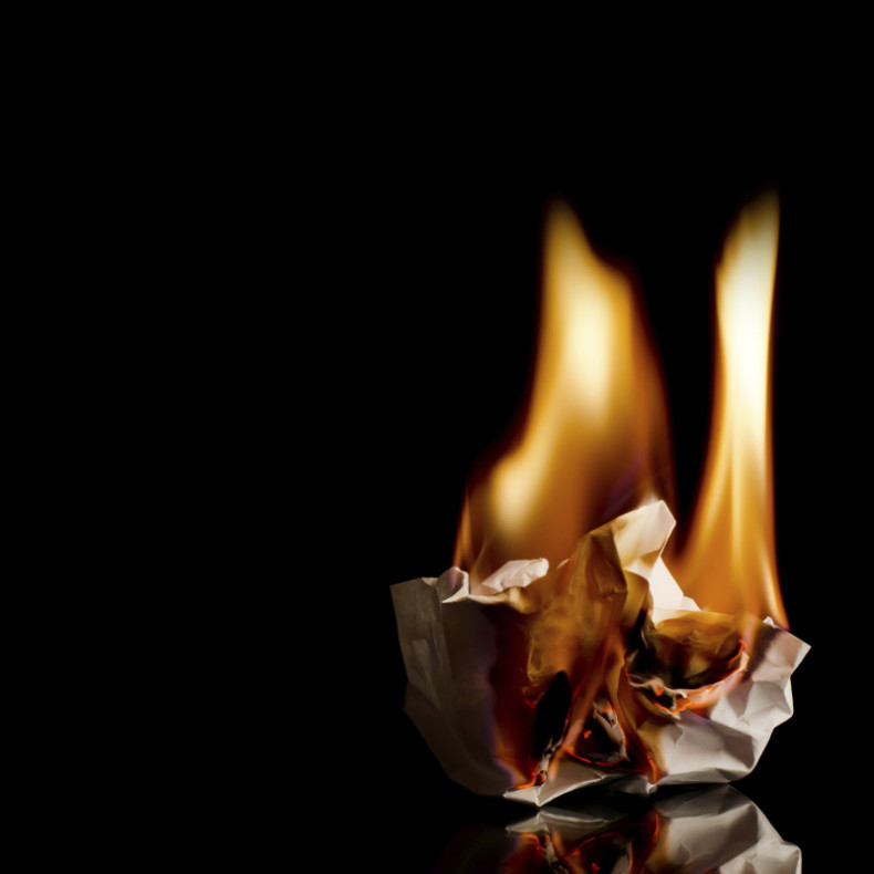 Burning of the crumpled sheet of paper