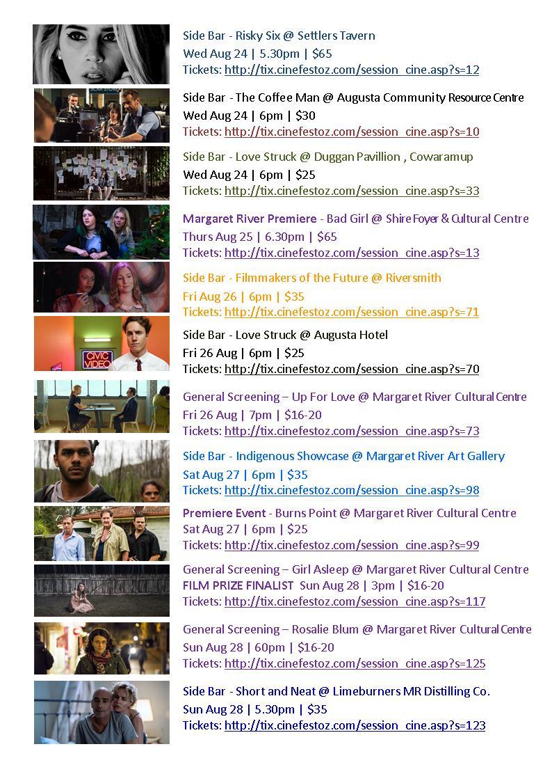 Cinefest Margaret River Program 2016