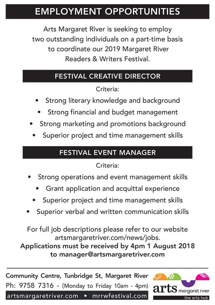 Festival Creative Director & Event Manager - Arts Margaret River