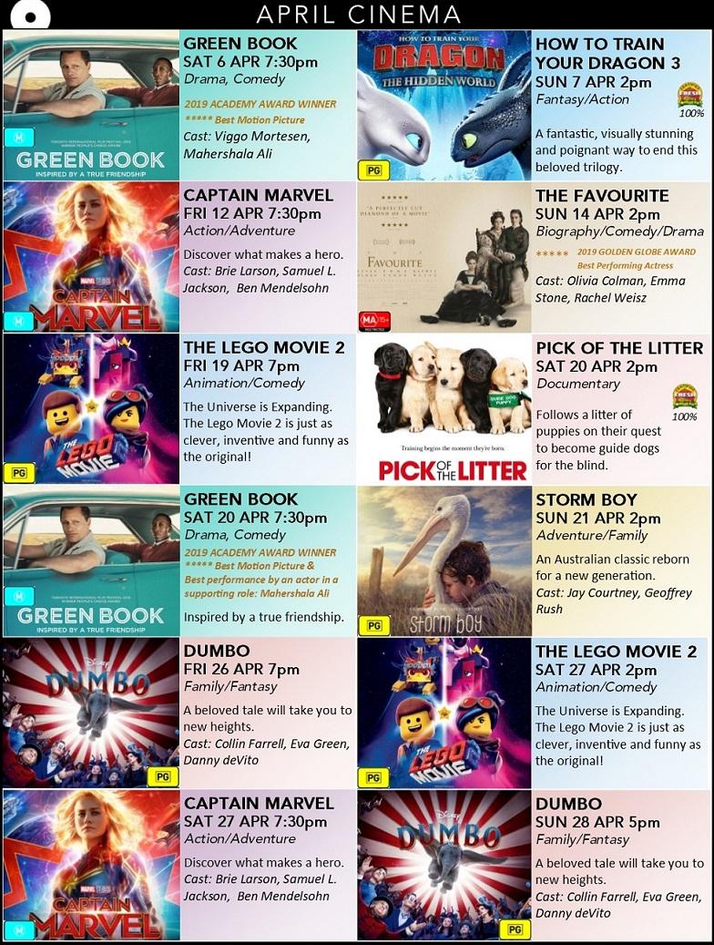 cinema at Arts Margaret River - April 2019 poster